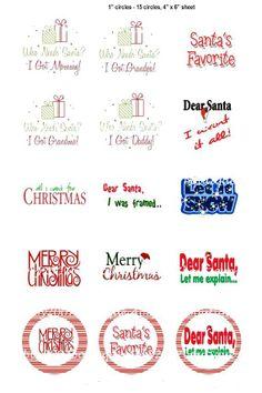 Christmas sayings (62) One inch circle digital bottlecap image sheet