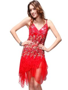Ever Pretty Vogue Lace Sequined V-neck Chic Cocktail Party Club Dress 00045, HE00045RD08, Multiple(red), 6US