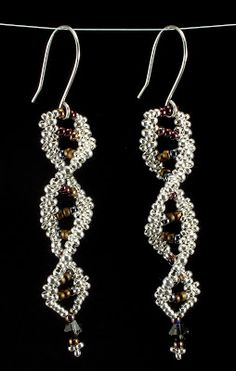 Musings on beaded art inspired by origami, geometry, and science. Science Jewelry, Bead Earrings, Dna, Seed Beads, Origami, Handmade Jewelry, Beadwork, Beading, Silver