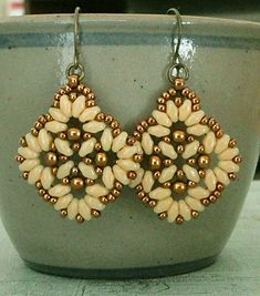 Linda's Crafty Inspirations: Circles & Squares Earrings - Ivory & Light Bronze