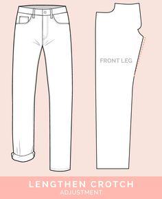 Lengthen Crotch Adjustment // 12 common jeans and pants adjustments // Closet Case Files