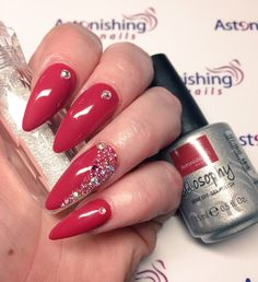 """Acrylic Extensions with Gelosophy Gel Polish """"Urban expression"""" on top. Added Crystal-pixie and Swarovski"""