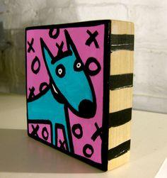 xo Dog 4x4 Art Block Painting by AnnesArtBlocks on Etsy, $32.00