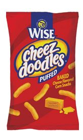 WISE PUFFED CHEEZ DOODLES - These are the original melt-in-your-mouth Doodles that are often copied, but never beaten. Covered in real cheddar cheese, your taste buds will thank you. Cheese Chips, Cheese Puffs, Baked Cheese, Cheddar Cheese, Nacho Cheese, Cheez Doodles, Kids Packaging, Packaging Design, Corn Snacks