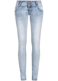Styleboom Fashion Damen Jeans 3 Knöpfe 5-Pocket hell blau denim - 77onlineshop