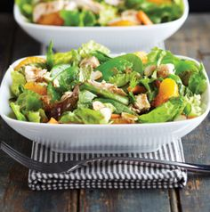 The ginger-soy dressing is really what makes this Asian Chicken Salad sing. Want to take it for lunch? Simply toss the greens, chicken, carrots, snow peas and mandarin oranges together and pack the dressing and almonds separately. Toss everything together when it's time to eat.