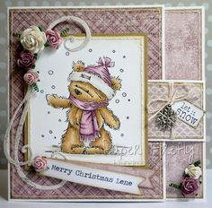 Pink buckle design Christmas card featuring James bear in the snow from LOTV