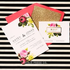 Botanical vintage rose wedding invitations by Citrus Press.  This suite is lovely with cheery colors, gold glittery envelope liner, and vintage botanical roses.