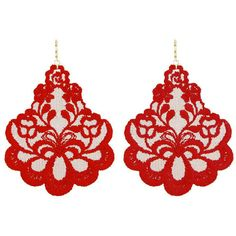 Tita' Bijoux Oleandro Red Lace Earrings ($79) ❤ liked on Polyvore