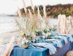 Take a moment today to transport yourself to the beautiful coast of France thanks to this seaside elopement in the French Riviera. Chloé, wedding planner at You & C designed this gorgeous inspiration shoot. Boho Beach Wedding, Beach Wedding Favors, Blue Wedding, Grass Centerpiece, French Riviera Style, Wood Wedding Decorations, Beach Dinner, Destination Wedding Inspiration, Destination Weddings