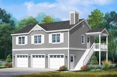 Plan Garage, 3 Car Garage, Garage Ideas, Garage Stairs, Garage Attic, Garage Apartment Floor Plans, Garage Apartments, 3 Bedroom Garage Apartment, Cottage Style House Plans