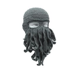 Stylish knit ski mask in octopus shape with tentacles. The unique design of the Beard Head allows your entire face to remain warm, even in the harshest weather. Material: Knitting wool, soft and comfortable. Crochet Beard Hat, Crochet Beanie, Knitted Hats, Baby Beard Hat, Beard Beanie, Beanie Hats, Funny Beanies, Funny Hats, Cthulhu