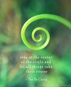Stay at the centre of the circle and let all things take there course. So true.