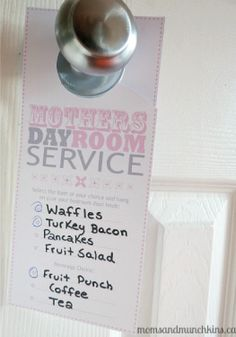 Mothers Day Room Service – Spoil mom by creating her own bed in breakfast and let her pick what she wants.