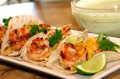 Chipotle Shrimp Tacos with Cilantro Lime Sauce