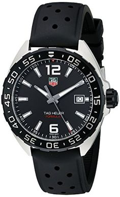 TAG Heuer Men's WAZ1110.FT8023 Formula 1 Stainless Steel Watch with Black Band  *  The Latest Reviews on Top Luxury Watch Brands | Stainless steel watch with unidirectional black bezel and dial with luminous hour markers and date display at three o'clock 41 mm stainless steel case with synthetic-sapphire dial window Swiss quartz movement with analog display