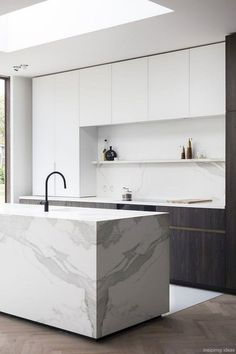cabinet to down to counter on left side Luxury Modern Kitchen Design Ideas 39