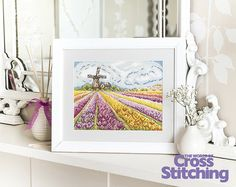 Tulip field and windmill - my cross stitch design in issue 226 of 'World of Cross Stitching' magazine.