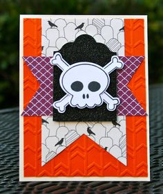 Krystal's Cards: Stampin' Up! Howl-o-ween Treat Skull and a little surprise! #stampinup #krystals_cards #howloweentreat #halloweencard #handstamped #papercrafts #cardmaking