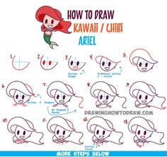 How to draw Ariel chibi