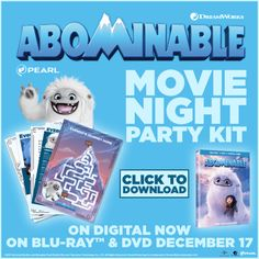 abominable movie activity sheets, recipes, movie night party and more. Print out this whole kit for your home viewing of abominable. Movie Night Party, Family Movie Night, Party Kit, Party Packs, Party Ideas, Dreamworks Animation, Animation Film, Are You Serious, Home Movies