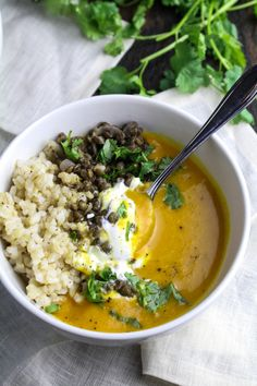 Sweet Potato and Coconut Milk Soup with Brown Rice and Lentils {Katie at the Kitchen Door}