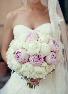 More purple than white   White & Purple Peonies - Perfect Bouquet! I love peonies!