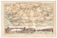 Fine Art Print-Kiel Canal (Nord-Ostsee-Kanal), Germany, lithograph, published in Fine Art Print on Paper made in the UK Vintage Maps, Antique Maps, Vintage Wall Art, Antique Prints, Poster Size Prints, Print Map, North Sea, Baltic Sea, Mi Long