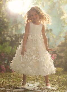 Robes de demoiselle d'honneur - fillette - $143.49 - Forme Princesse Col rond Longueur mollet Organza Satiné Robe de demoiselle d'honneur - fillette avec Plissé (01005009402)