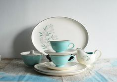 I normally do not like to pay a lot for things at thrift stores but this was such a deal..$45 for 45 pieces! I found this picture on etsy that is exactly like the Taylor-Smith-Taylor Petal Lane 1959 set I bought. I am keeping this set !