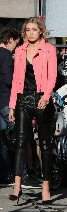 Gigi Hadid Knows How to Rock a Pair of Leather Pants