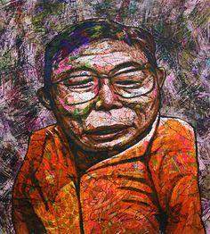 YiPyung Kim 김이평 // 'Portrait of Lee, Seoung Jo' '이성조의 초상' // 94x104cm, Reactive dye, Acid dye, Silk, 2014
