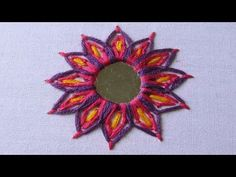 This is very simple and easy mirror work tutorial. In this, i have used two embroidery stitches i. Lasy daisy stitch and Chain stitch. Try this beautiful m. Indian Embroidery, Shirt Embroidery, Learn Embroidery, Machine Embroidery, Etsy Embroidery, Simple Embroidery, Brazilian Embroidery, Embroidery Stitches Tutorial, Hand Embroidery Designs