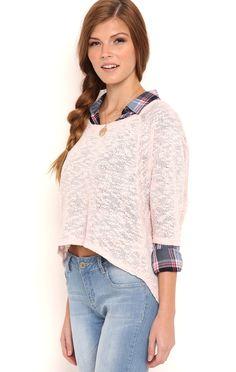 Deb Shops Raglan High Low Sweater with Zipper Back $15.75