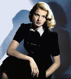 Ingrid Bergman, in the 1940s, sits for her portrait.   lmr