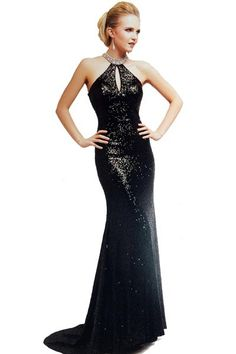 PRIMA 17-2006 Black Sequin High Neck Prom Pageant Dress Evening Gown