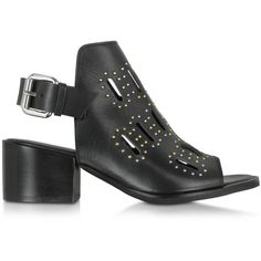 McQ Alexander McQueen Ridley Black Leather Mid Heel Sandal (€245) ❤ liked on Polyvore featuring shoes, sandals, black, thick heel sandals, open toe sandals, leather sole sandals, studded sandals and slingback sandals