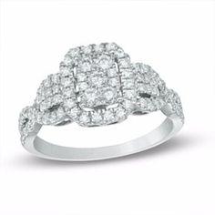 3/4 Ct Rectangular Diamond Frame Twist Shank Engagement Ring In 10K White Gold # Free Stud Earrings by JewelryHub on Opensky