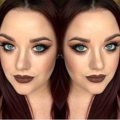 Smokey eye, brown lip
