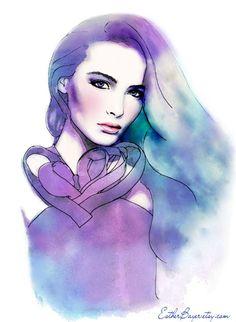 Blush -Watercolor Fashion Illustration Fine Art Print Vogue Russia. $32.50, via Etsy.