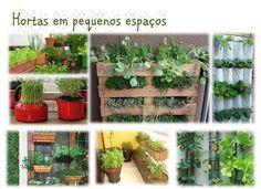Ideias de hortas em pequenos espaços.  Veja mais em http://www.comofazer.org