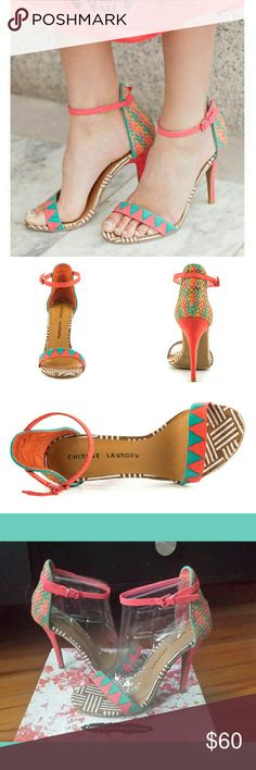 Chinese Laundry woven multi heels BRAND NEW NEVER WORN IN BOX Chinese Laundry woven multi heels  This Chinese Laundry single sole sandal features a wide range of patterns and prints created with synthetic leather. The back of the heel reveals a multi color raffia while a 4 1/2 inch stiletto adds a lift.  Basket weave man made Upper Man made Sole  This Shoe Fits True To Size. Chinese Laundry Shoes Heels