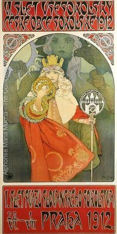 6th Sokol Festival by Alphonse Mucha