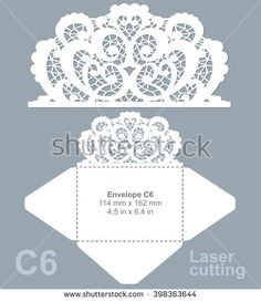 Vector die laser cut envelope template. Invitation envelope C6. Wedding lace…