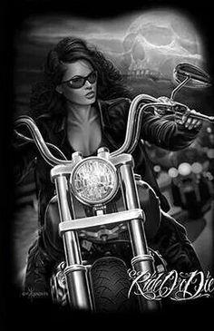 Ride or Die Motorcycle Art, Bike Art, Biker Chick, Biker Girl, Transférer Des Photos, Arte Lowrider, Aztecas Art, David Mann Art, Digital Foto