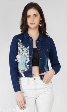 Checkout this latest Jackets & Waistcoat Product Name: *Applique women denim jacket (dark blue)* Fabric: Denim Sleeve Length: Long Sleeves Pattern: Solid Multipack: 1 Sizes:  S (Bust Size: 36 in, Length Size: 19 in)  M (Bust Size: 38 in, Length Size: 19 in)  L (Bust Size: 40 in, Length Size: 19 in)  XL (Bust Size: 42 in, Length Size: 19 in)  Country of Origin: India Easy Returns Available In Case Of Any Issue   Catalog Rating: ★4 (350)  Catalog Name: Trendy Graceful Women Jackets & Waistcoat CatalogID_2158698 C79-SC1023 Code: 883-11483022-159