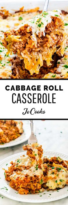 My Cabbage Roll Casserole recipe is layered with a perfectly seasoned pork and rice mixture, tender cabbage, and topped with cheese. Cabbage Recipes, Veggie Recipes, Beef Recipes, Dinner Recipes, Cooking Recipes, Healthy Recipes, What's Cooking, Recipies, Casserole Dishes