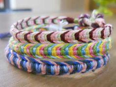Multicolored macrame bracelets friendship bracelet tutorial added by Angel. Diy Friendship Bracelets Tutorial, Braided Friendship Bracelets, Macrame Bracelet Tutorial, Friendship Bracelets Designs, Bracelet Designs, Hemp Bracelet Patterns, Embroidery Bracelets, Floss Bracelets, Macrame Bracelets