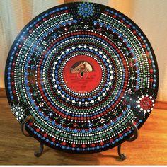 Mandala Painting, Dot Painting, Stone Painting, Painting & Drawing, Vinyl Record Art, Vinyl Art, Vinyl Records, Aboriginal Dot Art, Stippling Art