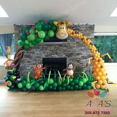 This Safari First Birthday Party is packed with lots of ideas including tutorials for a Jungle Birthday Cake and african safari jungle Party Favours. Jungle Party Decorations, Jungle Theme Parties, Jungle Theme Birthday, Safari Theme Party, Safari Birthday Party, Baby Party, Balloon Decorations, Party Themes, Party Ideas